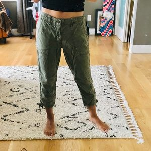 Army green cropped jogger cargo pants